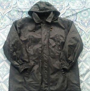 Genuine Leather Jacket hooded black Mens XL